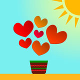 Illustration card of Valentine's day with paper hearts.Additional format EPS 8.0 Stock Image