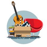 Illustration of a cardboard box with old things. In a flat style. Box with old stuff vector. Guitar, armchair, photo albums, photo camera, a drum with a film, a Royalty Free Stock Photography