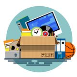 Illustration of a cardboard box with old things. In a flat style. Box with old stuff vector. Monitor, clock, files, folder, a drum with a film, a music plate, a Stock Images