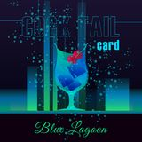 Illustration for the cards cocktails. Cocktail blue lagoon. Illustration for the cards cocktails in bar. Cocktail blue lagoon.Vector illustration Royalty Free Stock Image