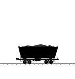 Illustration cargo coal wagon freight railroad train, black tran Stock Photos