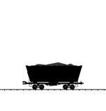 Illustration cargo coal wagon freight railroad train, black tran Stock Photos
