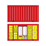 Illustration of cargo container. On white background. Carton packaging box, pallet, res container, wooden crates, metal barrel, bagful Royalty Free Stock Images