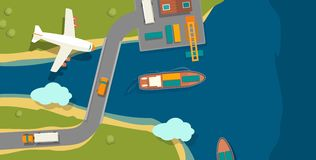 Illustration of a cargo port in flat  style. Top view. Ship, harbor, sea, boat, crane, dock, airplane and track. For horizon. Illustration of a cargo port in Royalty Free Stock Photo