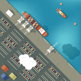 Illustration of a cargo port in flat style. Top. View. Ship and harbor, sea and boat, industry shipping transport, crane and dock vector Royalty Free Stock Photo