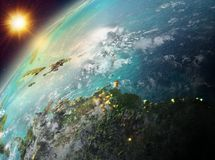 Caribbean on planet Earth in sunset. Illustration of Caribbean as seen from Earth's orbit during sunset. 3D illustration. Elements of this image furnished royalty free stock photo