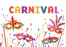 Illustration of carnival face masks. Masks for party decoration or masquerade. Colored mask with feathers. Vector illustration iso. Lated on white background royalty free illustration