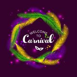 Illustration of Carnival Mardi gras with multicolors feathers. Illustration of Carnival Mardi gras with feathers Royalty Free Stock Images
