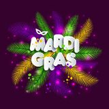 Illustration of Carnival Mardi gras on multicolors feathers,colors of the Mardi Gras. Text of paper style. Illustration of Carnival Mardi gras on multicolors Royalty Free Stock Photo