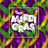 Illustration of Carnival Mardi gras on multicolors feathers,colors of the Mardi Gras. Text of paper style on seamless. Illustration of Carnival Mardi gras on Royalty Free Stock Photography