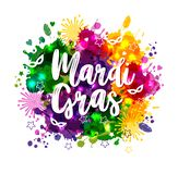 Illustration of Carnival Mardi Gras on multicolors watercolor stains,colors of the Mardi Gras. Carnival,watercolor. Illustration of Carnival Mardi Gras on stock illustration
