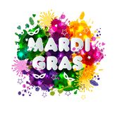 Illustration of Carnival Mardi Gras on multicolors watercolor stains,colors of the Mardi Gras. Spring, hand drawn ink. Illustration of Carnival Mardi Gras on Royalty Free Stock Images