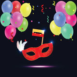 Illustration of carnival mask with balloons. Illustration of carnival mask with confetti and balloons Stock Image