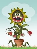 Illustration of carnivorous plant. With funny face royalty free illustration