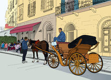 Illustration of a carriage in the street Royalty Free Stock Images