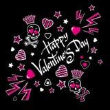 Illustration-carte postale sombre et sinistre pour la Saint-Valentin avec les crânes drôles d'amants Photos libres de droits