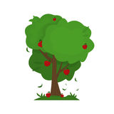 Illustration of cartoon abstract apple tree. Vector Stock Images