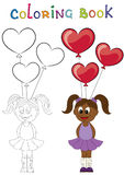 Illustration of a cartoon african girl with balloons in the form Royalty Free Stock Photos