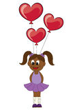 Illustration of a cartoon african girl with balloons in the form Royalty Free Stock Photo