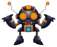 Cartoon angry robot with antennas and orange eyes stock illustration