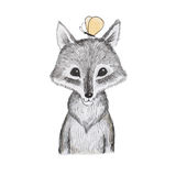 Illustration of cartoon animal. Portrait of cute little wolf cub with a butterfly sitting on his head Royalty Free Stock Image