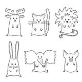 Illustration of 6 cartoon animals Royalty Free Stock Photos