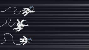 Astronauts racing on light speed. Illustration of cartoon astronauts racing on light speed in space Royalty Free Stock Photography