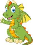 Cartoon baby dragon presenting vector illustration