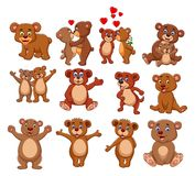 Cartoon bear collection set vector illustration