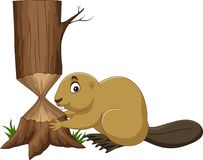 Cartoon beaver cutting tree Stock Image