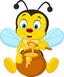 Cartoon bee with honey pot. Illustration of Cartoon bee with honey pot royalty free illustration