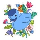 Illustration of cartoon blue duck Stock Photography