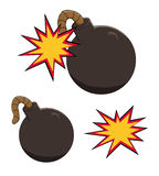 Illustration of a cartoon bomb icon about to explode Stock Images