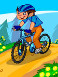 The illustration of a cartoon boy on a bicycle. Royalty Free Stock Images