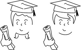 Cartoon of a cute boy and girl graduated Royalty Free Stock Photography