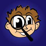 Illustration of cartoon boy with magnifying glass Royalty Free Stock Image