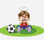 Illustration of Cartoon boy playing soccer. The boy playing football in the ground royalty free illustration