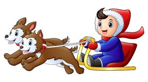 Cartoon boy riding a sleigh pulled by dog Royalty Free Stock Photo