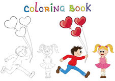 Illustration of a cartoon boy running with a bunch of flowers an. D cartoon girl with balloons. Coloring book. Valentine's Day Stock Photography