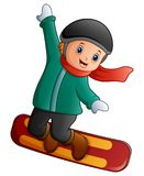 Cartoon boy with snowboard. Illustration of Cartoon boy with snowboard Royalty Free Stock Images