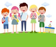 Cartoon Boys and girls with backpacks Stock Photo