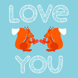 Illustration with cartoon bright ginger squirrels and hearts for use in design for valentines day or wedding greeting card Stock Photography