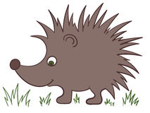 Illustration of a cartoon brown hedgehog with green eyes. On the white background Royalty Free Stock Photos