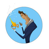 Illustration of cartoon businessman with magic lamp Royalty Free Stock Photos