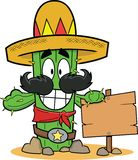 Cartoon Cactus with Sign royalty free illustration