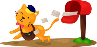 Cartoon cat postman Royalty Free Stock Photo