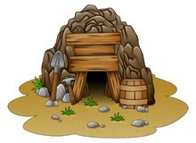Cartoon cave entrance royalty free illustration