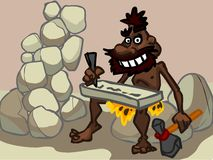 The illustration of a cartoon caveman in a desert. Royalty Free Stock Photography