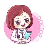 Female Doctor_vector. Illustration of cartoon character female doctor vector illustration