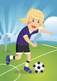 Illustration Cartoon character Girl Soccer Player. Illustration of a cute young girl playing soccer Stock Photography